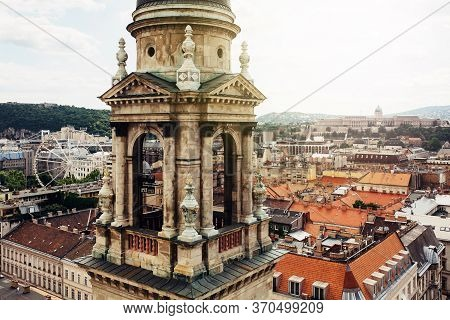 Basilica Of Saint Stephen, One Of The Small Towers Over Cityscape Of Budapest, Hungary, View From Si