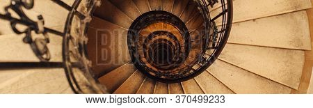 Spiral Stone Staircase In Basilica Of St. Stephen In Budapest, Hungary, View From Above On The Persp