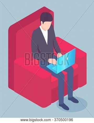Businessman In Armchair With Laptop, Freelance Or Startup Creation Vector. Man In Suit Sitting In Ch