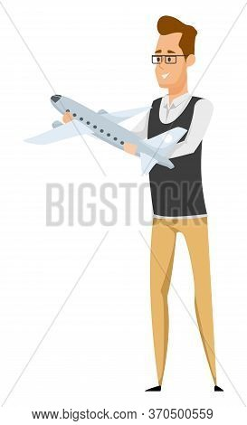 Man With Plane Model Aircraft Modelling Hobby. Vector Airplanes Construction, Aviation And Piloting