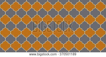 Ramadan Kareem Islamic Illustration. Traditional Ramadan Golden Mosque Tile. Eid Mubarak Muslim Back
