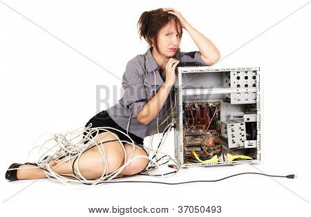 worried woman pouting on broken computer