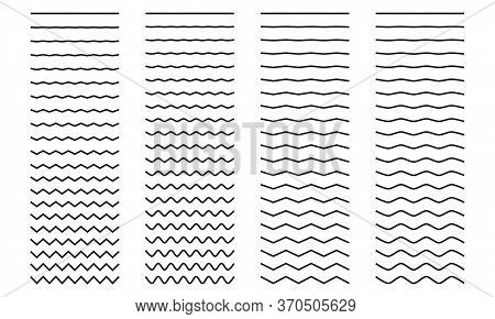 Set Of Wavy Curved And Zig Zag Criss Cross Horizontal Lines On White Background. Vector Illustration