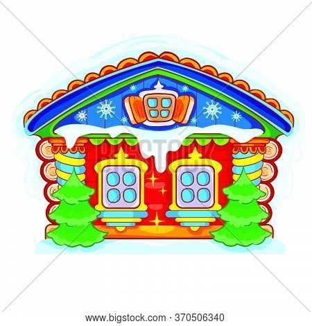 Magic Painted Hut For Santa Claus In Red, Snow Lies On The Roof, Isolated Object On A White Backgrou