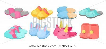 Slippers Vector Illustration Set. Cartoon Flat Home Warm Comfortable Bedroom Shoes For Man Woman Chi