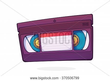 Vhs Cassette. Video Tape Record System. Retro Storage Of Analog Information. Movie Industry. Cartoon