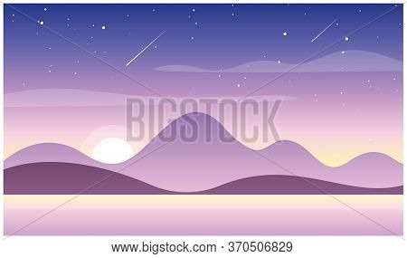 Vector Illustration Of Beautiful Sunset In Mountains With Lake. Wild Nature, Travel Concept In Paste