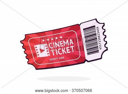 One Cinema Ticket With Barcode. Paper Retro Coupon For Movie Entry. Symbol Of The Film Industry. Car