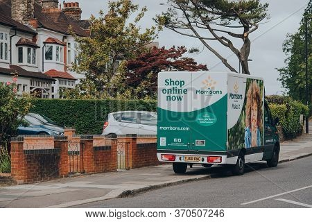 London, Uk - April 12, 2020: Morrisons Delivery Van Parked On A Street In Palmers Green, London. Mor