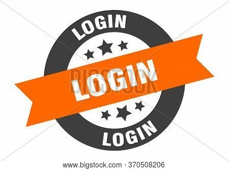 Login Sign. Login Orange-black Round Ribbon Sticker