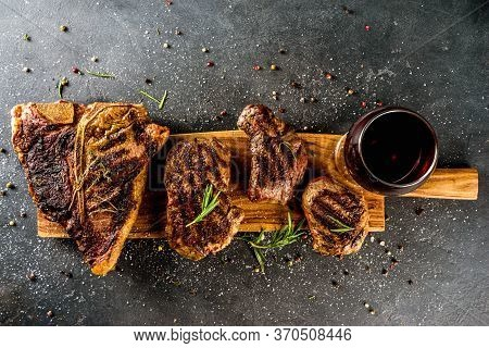 Set Of Various Grilled Meat, Different Beef Steaks With Sauces.bbq Beef Steaks - Chateau Mignon, T-b