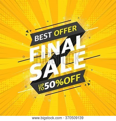 Gray Sale Banner Template Design On Yellow Abstract Background. Beautiful Design. Final Sale Special