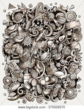 Cartoon Vector Doodles Latin America Illustration. Toned Latinamerican Picture