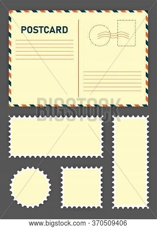 Big Postcard And Postage Stamps Set Below On Brown Background. Vector Illustration.