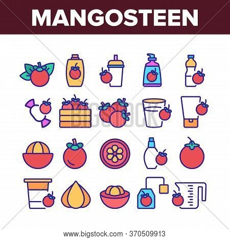 Mangosteen Sweet Fruit Collection Icons Set Vector. Mangosteen Juice And Candy, Tea And Cream Tube,