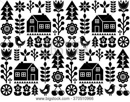Nordic, Scandinavian Inspired Folk Art Seamless Pattern - Finnish Vector Textile Design In Black And