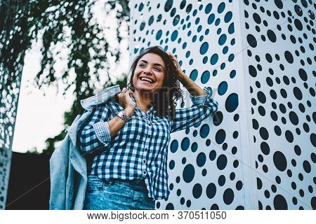 Happy Smiling Hipster Girl Strolling Outdoors And Enjoy Recreation Time In City.
