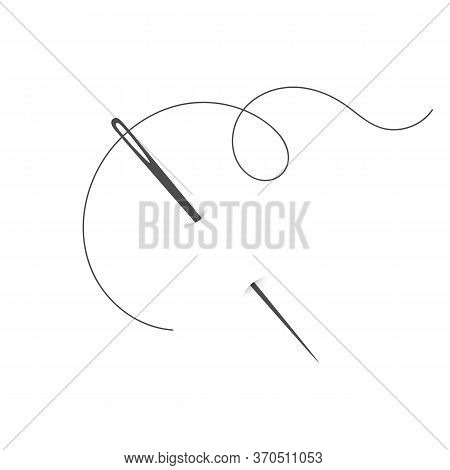 Needle And Thread Silhouette Icon Vector Illustration. Tailor Logo With Needle Symbol And Curvy Thre