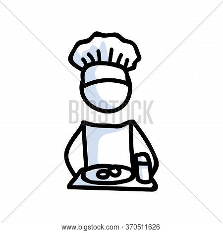 Cute Stick Figure Chef Cooking With Meal Plate Lineart Icon. Dinner Preparation Pictogram. Communica