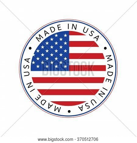 American National Holiday. Made In Usa Icon. Us Flags With American Stars, Stripes And National Colo