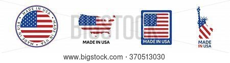 American National Holiday. Set Of Made In Usa Icons. Us Flags With American Stars, Stripes And Natio