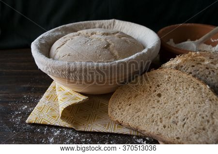 Sourdough Dough In Proofing Basket , Whole Wheat. Rye Flour Bread Slices. Home Baked Bread. Close Up