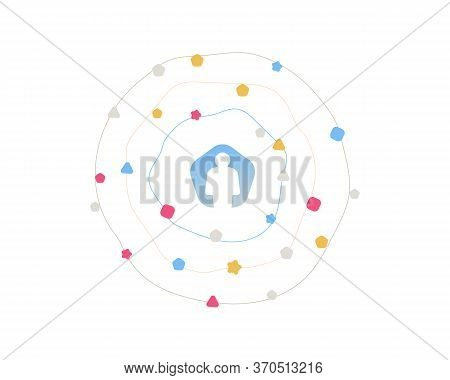 Abstract Business Management Structure Illustration. Avatar Sign. Person Silhouette Symbol On White