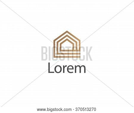 Abstract Line Art House Icon Isolated On The White Background Luxury Minimalist Logo Concept. Golden