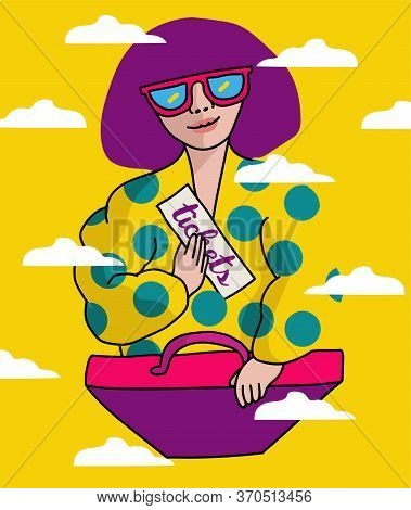 Bright, Juicy Poster With A Girl In The Style Of Pop Art 90s, In Sunglasses, Who Is Holding A Ticket