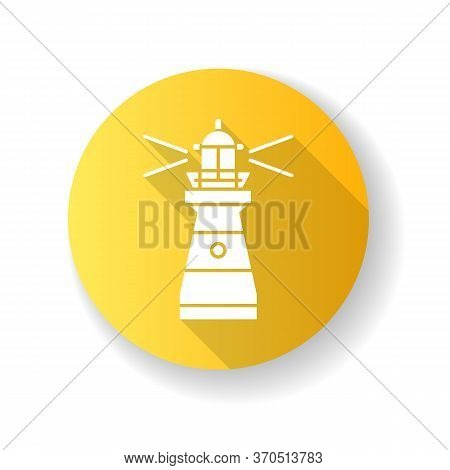 Lighthouse Yellow Flat Design Long Shadow Glyph Icon. Traditional Maritime Navigational Landmark. Wa