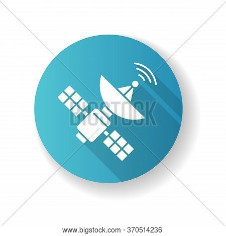Space Satellite Blue Flat Design Long Shadow Glyph Icon. Cosmos Exploration, Modern Telecommunicatio
