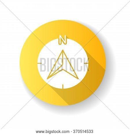 Navigator Arrow Yellow Flat Design Long Shadow Glyph Icon. Modern Navigation Technology, Global Posi