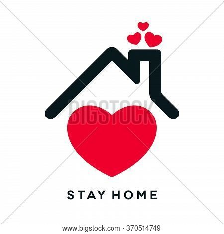 Covid-19 Stay Home Concept Design. Coronavirus Pandemic Social Isolation Icon With Heart Shapes On W