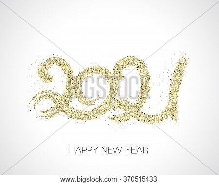 2021 Gold Brush Stroke Banner. Painted 2021 Modern Minimal Logo. Winter Holiday Greeting Card. Happy