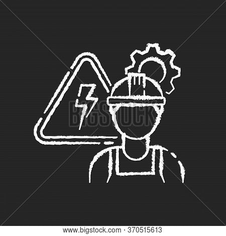 Electrical Engineer Chalk White Icon On Black Background. Technical Professional For Machinery Maint