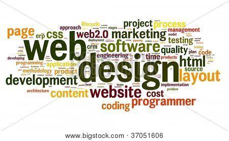 Conceito de design web na nuvem de Tags palavra sobre fundo branco