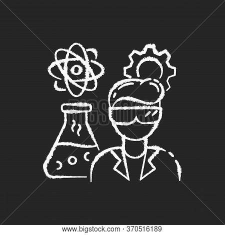 Chemical Engineer Chalk White Icon On Black Background. Biochemical Specialist. Professional For Bio