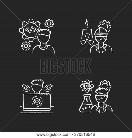 Engineer Profession Chalk White Icons Set On Black Background. Computer Software Developer. Nuclear