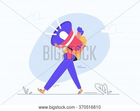 Young Man Carrying Heavy Red Megaphone. Flat Modern Vector Illustration Of Burden Of Social Media Ma