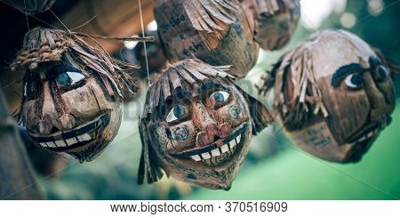 Coconut Craft. Works Of Art Made Of Coconut Shells