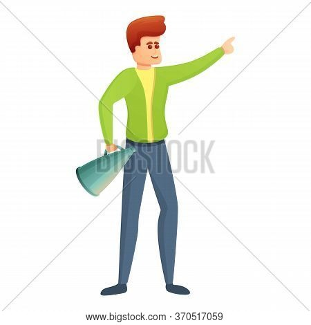 Young Stage Director Icon. Cartoon Of Young Stage Director Vector Icon For Web Design Isolated On Wh