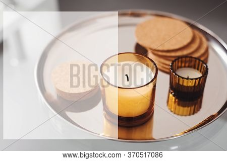 Text Template With Aroma Candles On Metal Tray As Background. Space For Text