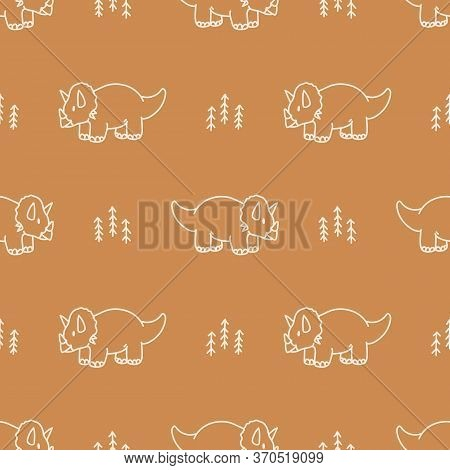 Seamless Background Triceratops Dinosaur With Plant Gender Neutral Baby Pattern. Simple Whimsical Mi