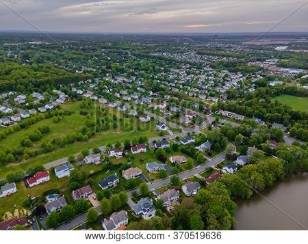Aerial View Over Suburban Residential District Roofs Homes And Roads Nj Usa