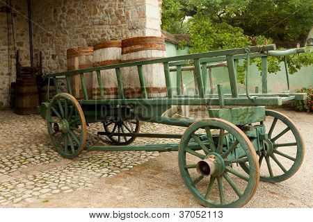 Wine barrels on a cart in the eco museum of Ungersheim, Alsace, France