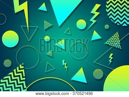 A Green, Cyan And Yellow Retro Vaporwave 90's Style Random Geometric Shapes With Vibrant Neon Color