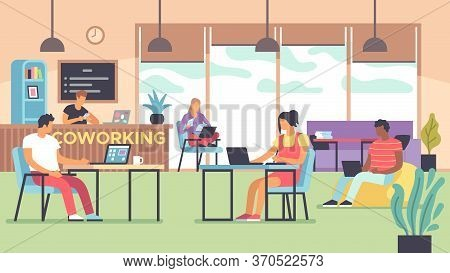 Coworking. People Talking And Working At Computers In Open Space Office, Multinational Employees, Wo