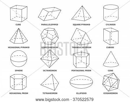 Geometric 3d Line Shapes. Geometry Linear Forms Triangle, Tetrahedron And Cone, Sphere And Pyramid,