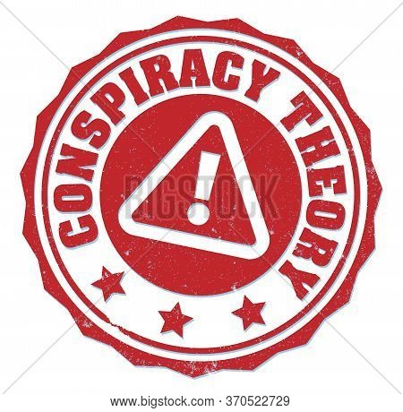 Red Round Grungy Conspiracy Theory Rubber Stamp Or Label With Warning Symbol Isolated On White Vecto
