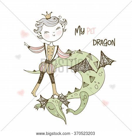 A Fairy Prince And A Dragon. Vector